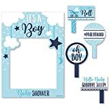 Big Dot of Happiness It's a Boy - Blue Baby Shower Selfie Photo Booth Picture Frame and Props - Printed on Sturdy Material