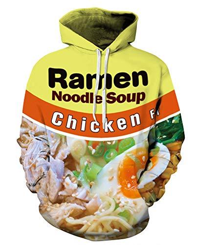 GLUDEAR Men's Realistic 3D Digital Print Pullover Hoodie Hooded Sweatshirt,Egg Noodles,S/M
