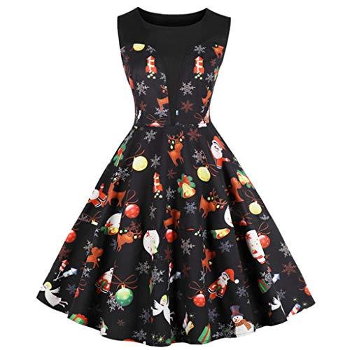 JJggsi4 Ärmelloses Weihnachtskleid für Damen Damen Mode Hausfrau Abendkleid Vintage...