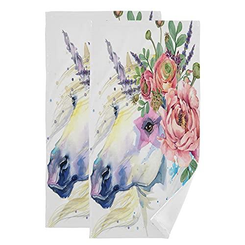 QMIN Toalla de acuarela rosa flor unicornio caballo animal toallas de mano suave absorbente toalla cara Set de 2 paños para cocina, baño, yoga, gimnasio, playa, 71,9 x 36,6 cm