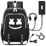 USAMYNA Zaino Luminoso Per Adolescenti School Bag 36L-55L Zaino USB Esterno e Porta Per Cuffie Borsa Da Viaggio Per Laptop (Smiley)