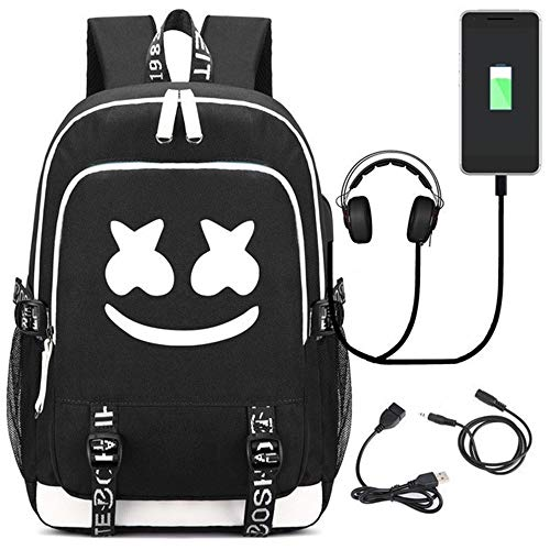 Mochila Luminosa USAMYNA para Adolescentes Mochila Escolar Marshmello 36L-55L Mochila USB Externa...