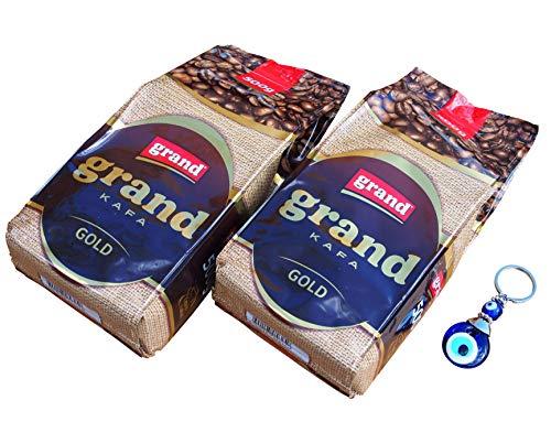 2 x 500g Grand Kafa Gold - Gemahlener stark gerösteter Serbischer Kaffee + Orient-Feinkost Nazar Schlüsselanhänger GRATIS