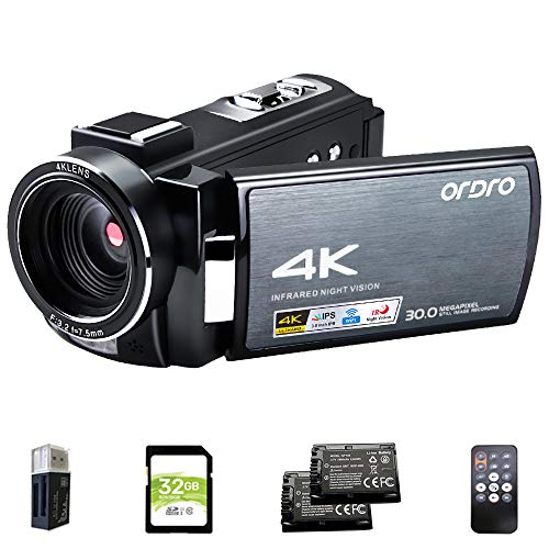 4K Video Camera Camcorder ORDRO HDR-AE8 UHD 1080P 60FPS Digital WiFi Camera Camcorders IR Night Vision 3.0'' IPS Touchscreen Vlogging Camera with 32GB SD Card and 2 Batteries
