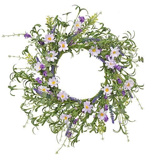 NIUXICH Corona de flores artificiales de lavanda con hojas verdes, corona de puerta delantera para decoración del hogar y celebración de festivales