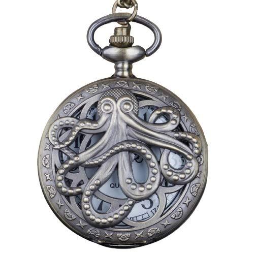 KKDS Clásico Octopus Hueco Hueco Bolsillo Reloj de Bolsillo Steampunk Negro Bolsillo Reloj con Collar Regalo de Cadena para niños para el cumpleaños del día del Padre (Color : Bronze White)