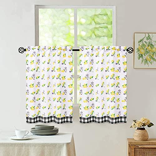 Tier Curtains for Kitchen Windows, Yellow Lemon Plaid Printed Short Bathroom Window Curtains, Rod Pocket Half Window Tier Curtains for Cafe, 30'' Wide x 36'' Long, 2 Panels
