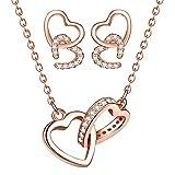 Yumilok Damen Schmuckset Halskette Ohrringe Set Doppel Herz Kette Ohrstecker in 925 Sterling Silber mit Zirkonia Allergenfrei Roségold