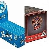 50 Libritos papel de liar Smoking Blue 70 x 37mm + 4000 filtros Krypton 6mm
