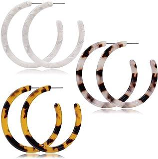 JSJOY Lightweight Resin Acrylic Hoop Earrings,Bohemian Small Resin Statement Earrings,Acrylic Earrings for Women Hoop Set,Hypoallergenic,White,Tortoise Shell,Leopard,3 Pairs