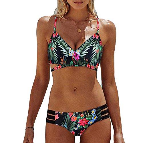 Briskorry Bikini Damen Set Badeanzug Mit Push Up Bademode Bandeau Zweiteilige Gepolstert Sexy Zweiteiliger Neckholder High Bikini-Set Strandkleidung Triangel Bikinihose Taille Crossover Oberteil 2020