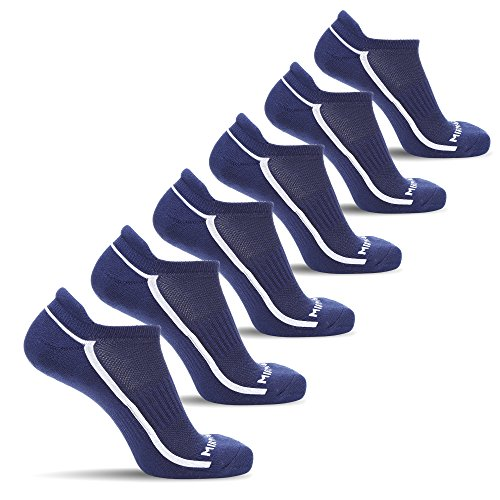 MIRMARU 6 Pairs Ultra Lite Athletic No Show Running Socks for Men and Women (450L-NAVY)
