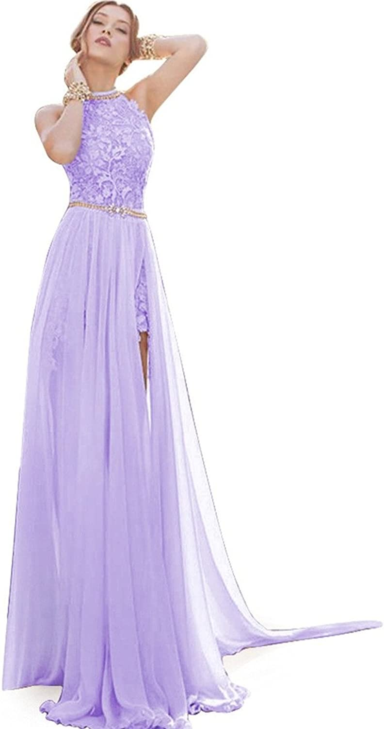 JudyBridal Women Beach Wedding Gowns for Bride 2016 Halter Prom Dresses