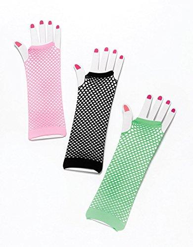 Gloves. Fishnet Fingerless Pink