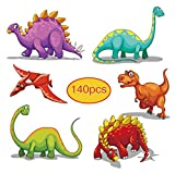 Tattoos for Kids 140 Pack Dinosaur Temporary Tattoos 1.5'' by 1.5'' for Birthday