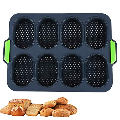 Silicone Mini Baguette Baking Tray Non-Stick Perforated Pan Loaf Baking Mould French Bread Breadstick Rolls Hamburger Molds Muffin Pan Kitchen Baking Tools (1 Pack- Dark Gray)
