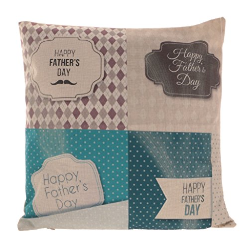 Fityle Funda de Almohada Decorativa Cuadrada de Lino Funda de Cojín Regalo para Día de Padre - 3#, Individuales