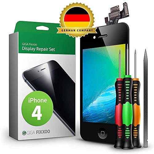GIGA Fixxoo Display Set kompatibel mit iPhone 4, Reparaturset Komplett Schwarz, Ersatz Bildschirm, Retina LCD Glas mit Touchscreen, inkl. integrierte Frontkamera & Werkzeug