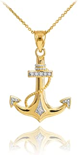 Fine 14k Two-Tone Gold Diamond-Accented Fouled Anchor Pendant Necklace