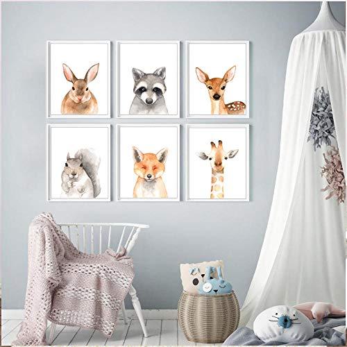 Woodland Animaux Nursery Decor Zoo Prints De Bande Dessinée Toile, Peintures Affiche Wall Art Photos Bébé Chambre Décor 60x90cmx6 sans cadre