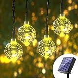 Solar String Lights Outdoor - 60 LED 36ft 8 Modes Crystal Solar Power Globe Ball String Lights Waterproof Weatherproof Mini Light String for Gazebo, Patio, Garden, Christmas Decorations, Warm White