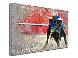Declina - Cuadro de pintura de toro en el areno, impresión fotográfica de animales sobre lienzo, decoración de pared, decoración de casa, cocina, salón, habitación adulto, multicolor, 50 x 30 cm