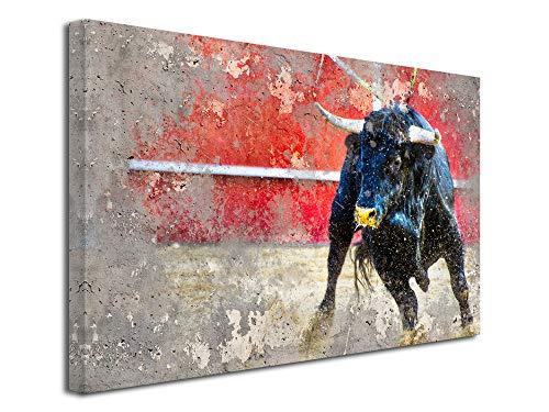 Declina - Cuadro de Animales, fotografía sobre Lienzo, Cuadro Decorativo de Pared, decoración de salón, Pintura de Toro en Arena, 50 x 30 cm, Lona, 50x30 cm