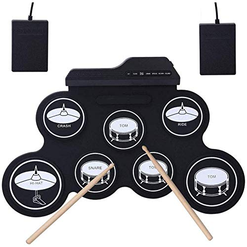 Buy Discount JZJSZB Electronic Drum USB Charging Hand roll Drum kit Convenient Musical Toys with Ped...