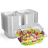 Disposable Plastic Hinged Food Container (80 Pieces), 6.3' Length x 4.9' Width x 3.8' Depth, Clear Hinge Clamshell Containers Keep Your Food Secure by Karderon