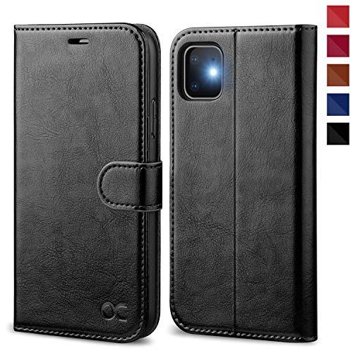 OCASE iPhone 11 Hülle Handyhülle [Premium Leder] [Standfunktion] [Kartenfach] [Magnetverschluss] Tasche Flip Hülle Cover Etui Schutzhülle lederhülle flip case für iPhone 11 Schwarz