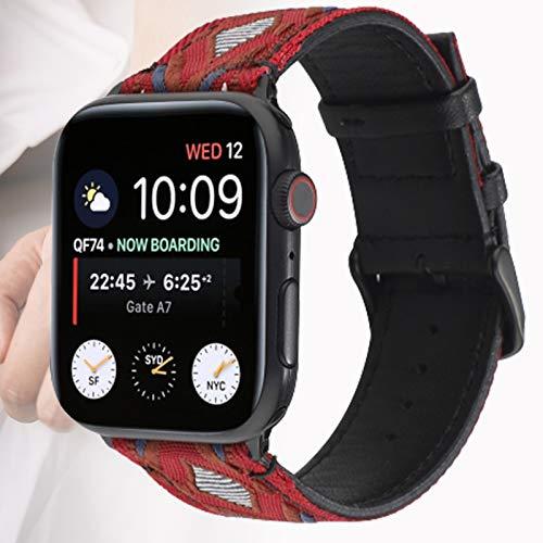 Correa de Cuero Compatible con la Correa de Apple Watch, Hombres Mujeres Correas de Cuero Genuino Correa de Repuesto Compatible con iWatch SE/Serie 6 5 4 3 2 1,42mm
