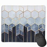 青い六角形 マウスパッド ゲーミング オフィス最適 防水 耐久性が良い 滑り止めゴム底 マウスの精密度を上がる 25x30cm