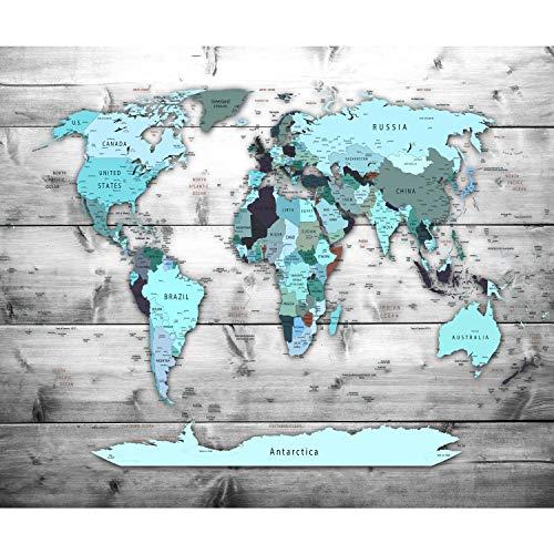 decomonkey Fototapete Weltkarte Landkarte 350x256 cm XXL Design Tapete Fototapeten Vlies Tapeten Vliestapete Wandtapete moderne Wand Schlafzimmer Wohnzimmer Holz Holzwand