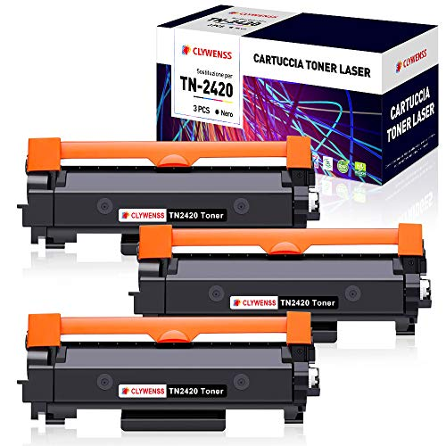 Clywenss TN2420 TN2410 Compatibile per Brother TN-2420 TN-2410 Toner per Brother DCP L2510D L2530DW L2550DN HL L2310D L2350DW L2370DN L2375DW MFC L2710DN L2710DW L2730DW L2750DW (Con Chip, 3-Nero)