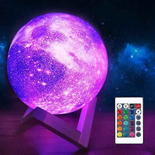 Mondlampe, Galaxy-Projektorlicht ┃Remote Steuerung mit 16 RGB-Farben, 4-Änderungsmodus, Dimmfunktion, Timer ┃ Lunar 3D-Lampe Dekor Geschenke für Liebhaber Männer Frauen Kind (Rot, 12CM)