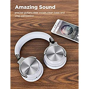 COWIN E7 PRO [Upgraded] Active Noise Cancelling Headphones Bluetooth Headphones with Microphone/Deep Bass Wireless Headphones Over Ear, 30 Hours Playtime for Travel/Work, White