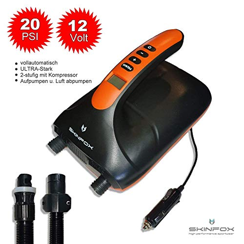 SKINFOX Bomba de aire súper eléctrica 0,5 hasta 20 Psi Sup Paddle Board Bomba inflable barco de 2 etapas con compresor