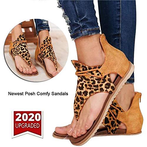 HJHY @ Dames Romeinse sandalen met platte zomersandalen voor vrouwen, retro luipaardrits, voor daten, winkelen