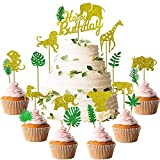49 PCS Glitter Safari Jungle Animal Cupcake Toppers with Leaves and Happy Birthday Cake Topper for Jungle Safari Animals Party Baby Showers Birthday Party