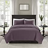 Madison Park Quebec Quilt Set - Luxurious Damask Stitching Design Anti-Microbial, Cotton Filled Lightweight Coverlet Bedspread Bedding, Shams, King/Cal King(104'x94'), Purple 3 Piece
