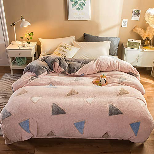 MNBVC Bedding Duvet Cover 4 Piece Set – Ultra Soft Double Collection Comforter Cover with Button Closure and 2 Pillow Queen King