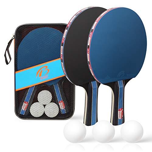 2 Player Table Tennis Bats Set - 2 Bats and 3 Balls, Ping Pong Paddle Set...