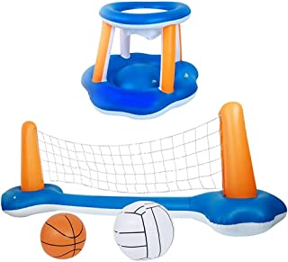 Inflatable Volleyball Court,Inflatable Pool Float Volleyball Net And Basketball Hoops Floating Pool Swimming Game Toys Wat...