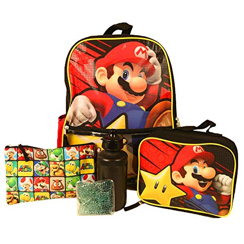 Kids Super Mario Backpack with Lunch Bag Set for Boys & Girls, 16 inch, 5 Piece Value Set