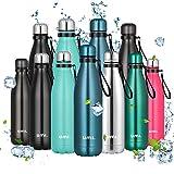 Amazon Brand - Umi Borraccia Termica, 500 ml Bottiglia Acqua in Acciaio Inox, Senza BPA, 24 Ore Freddo & 12 Caldo, Borracce per Scuola, Sport, All'aperto, Palestra, Yoga (Blu)