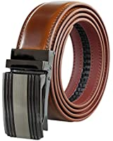 Leather Belts for Men – Pull Release Buckle Designer Dress Belt - V498-AMBR