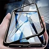 YHWW Protector de Pantalla Funda magnética para teléfono con función de adsorción para Samsung Galaxy S9 S8 Plus Note 9 8 Imán metálico Cubierta de Vidrio Templado, Negro, para iPhone XR