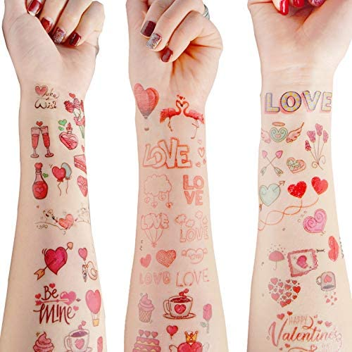 MISS U 100 Love Heart Shape Temporary Tattoos Stickers for Valentine s Day Couple Anniversary product image