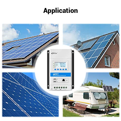 EPEVER 20A MPPT Solar Charge Controller 12V/24V Auto Working Max PV 100V Modular Design Solar Panels MPPT Regulator with LED&LCD Display Double USB Port for Solar Home System