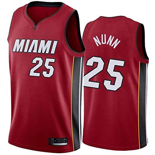 Ropa Miami Heat # 25 Kendrick Nunn clásico Ventilador Jersey de los Hombres Bordados Chaqueta Deportiva de Baloncesto Unisex educación de Baloncesto sin Mangas, C, XL, 180~185c.